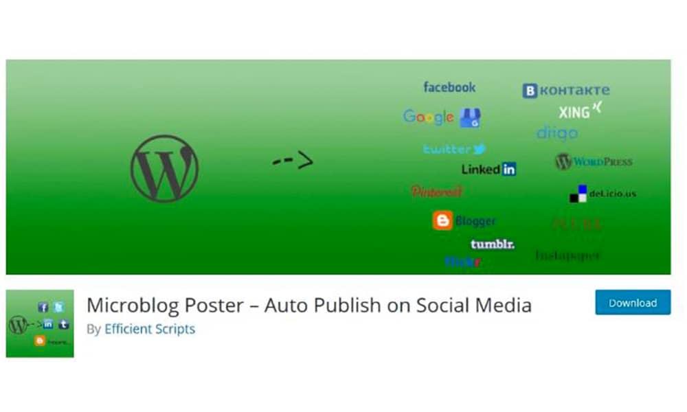 انتشار اتوماتیک مطالب سایت با افزونه Microblog Poster- Auto Publish On Social Media