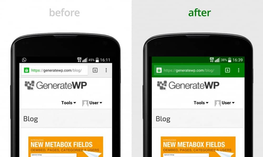تغییر رنگ نوار آدرس مرورگر کروم در موبایل در سایتهای وردپرسی با افزونه
